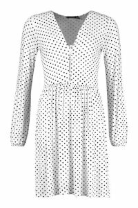 Womens Tall Polka Dot Button Through Smock Dress - white - 16, White