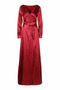 Womens Tall Off The Shoulder Satin Maxi Dress - red - 10, Red
