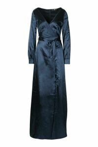 Womens Tall Off The Shoulder Satin Maxi Dress - navy - 8, Navy