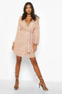 Womens Tall Belted Sequin Blazer Dress - metallics - 12, Metallics
