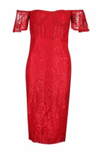 Womens Tall Off The Shoulder Lace Midi Dress - red - 16, Red