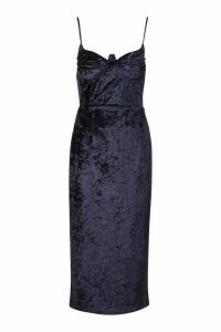 Womens Tall Cup Detail Velvet Midi Dress - navy - 16, Navy