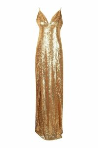 Womens Tall Plunge Sequin Maxi Dress - metallics - 16, Metallics