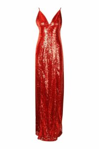 Womens Tall Plunge Sequin Maxi Dress - red - 12, Red