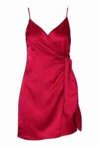 Womens Satin Wrap Detail Dress - red - 16, Red