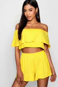 Womens Off The Shoulder Top + Short Co-ord - yellow - 6, Yellow