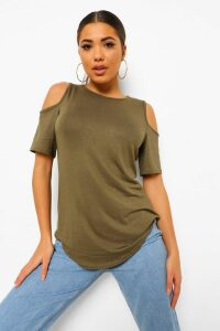 Womens Basic Cold Shoulder Curved Hem T-Shirt - green - 16, Green