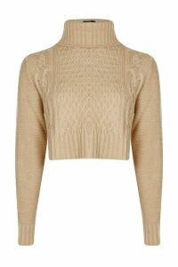 Womens roll/polo neck Cable Crop Jumper - beige - M, Beige