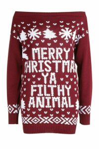 Womens Slash Neck Filthy Animal Christmas Jumper - red - M/L, Red