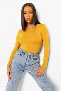Womens Basic Round Neck Long Sleeve Top - yellow - 14, Yellow