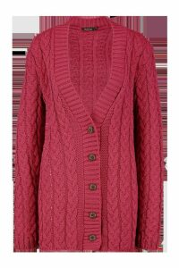 Womens Cable Knit Cardigan - Pink - M/L, Pink