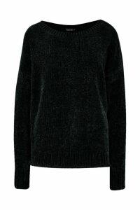 Womens Chenille Jumper - black - M/L, Black