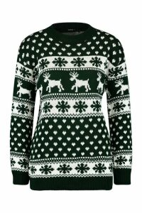 Womens Reindeers & Snowflake Christmas Jumper - green - M/L, Green