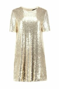 Womens Boutique Sequin T-Shirt Christmas Party Dress - metallics - 14, Metallics