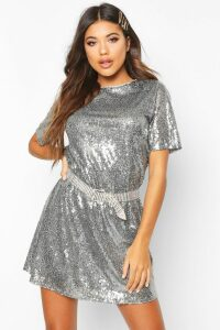 Womens Boutique Lacey Sequin T-Shirt Dress - grey - 16, Grey