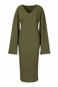 Womens Tall Ribbed V Neck Dress - green - 16, Green