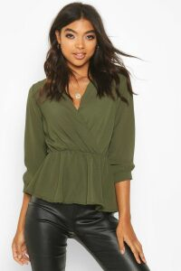 Womens Tall Wrap Peplum Blouse - green - 6, Green