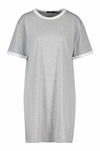 Womens Tall Ringer T-Shirt Dress - grey - 16, Grey