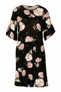 Womens Tall Floral Print Smock Dress - black - 12, Black