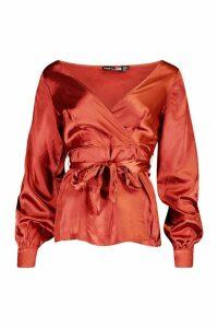 Womens Tall Off The Shoulder Satin Blouse - orange - 12, Orange