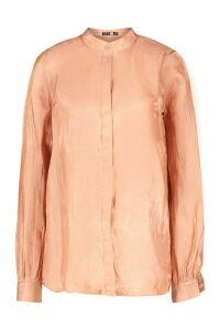 Womens Tall Deep Cuff Woven Metallic Shirt - pink - 14, Pink