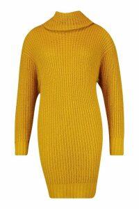 Womens Tall Roll Neck Jumper Dress - yellow - XL, Yellow