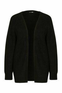 Womens Tall Chunky Fisherman Knit Cardigan - black - M/L, Black