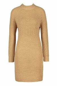 Womens Tall Ribbed Knitted Jumper Dress - beige - M, Beige