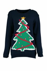 Womens Petite Christmas Tree Jumper - navy - M/L, Navy