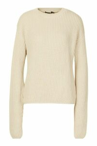 Womens Tall Drop Shoulder Chunky Jumper - beige - L, Beige