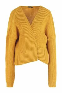 Womens Oversized Rib Crop Cardigan - yellow - S/M, Yellow