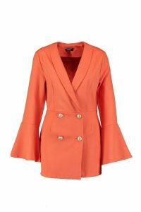 Womens Melissa Tailored Flare Sleeve Playsuit - orange - 8, Orange