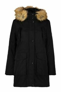 Womens Luxe Faux Fur Sporty Parka - black - 16, Black