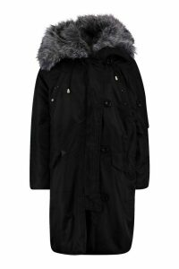 Womens Oversized Faux Fur Fly Hood Luxe Parka - black - 16, Black