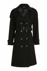 Womens Belted Wool Look Trench - black - 12, Black