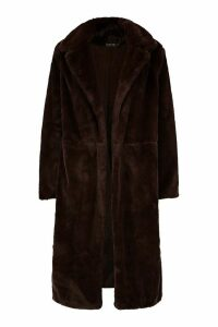 Womens Maxi Soft Faux Fur Coat - brown - XXL, Brown