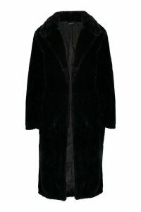 Womens Maxi Soft Faux Fur Coat - black - XXL, Black