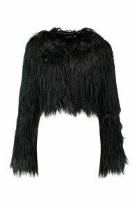 Womens Crop Shaggy Faux Fur Coat - black - 14, Black
