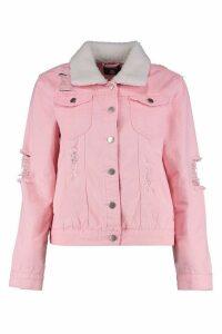 Womens Borg Collar Slim Fit Denim Jacket - Pink - 14, Pink