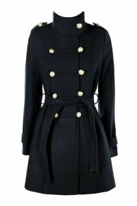 Womens Military Wool Look Coat - navy - 10, Navy