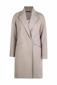 Womens Zip Pocket Tailored Coat - grey - 14, Grey