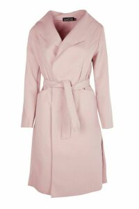 Womens Belted Wool Look Shawl Collar Coat - pink - M/L, Pink