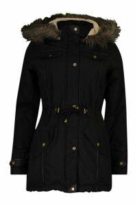 Womens Parka With Faux Fur Trim Hood - black - 14, Black