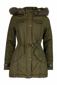 Womens Parka With Faux Fur Trim Hood - green - 16, Green