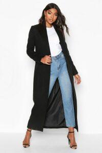 Womens Tall Full Length Wool Look Coat - black - 16, Black