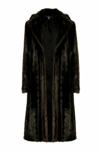 Womens Tall Long Faux Fur Coat - brown - 16, Brown