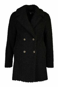 Womens Tall Double Breasted Teddy Faux Fur Coat - black - 16, Black