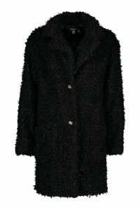 Womens Tall Faux Fur Oversized Collar Coat - black - 16, Black