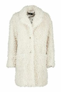 Womens Tall Faux Fur Oversized Collar Coat - white - 16, White