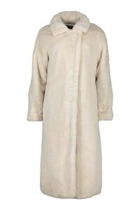 Womens Tall Belted Faux Fur Coat - white - 16, White
